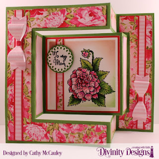 Divinity Designs Stamp Set: Grandmother's Heart, Paper Collection: Pretty Pink Peonies, Custom Dies: Tri-Fold Card with Layers, Squares, Circles, Filigree Circles, Small Bow