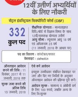CISF Constable Recruitment 2018 332 Firemen Bharti