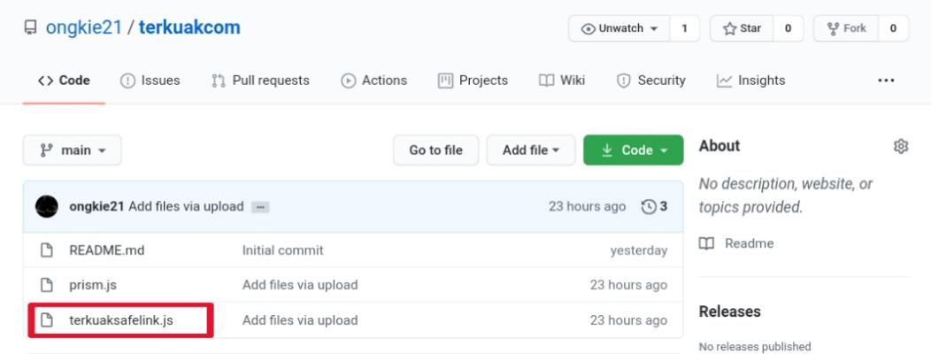 Daftar file di Repository GitHub