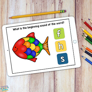 F for Fish Beginning Sounds Boom Cards fro Boom Learning