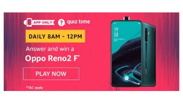Amazon OPPO RENO 2F Quiz Answers