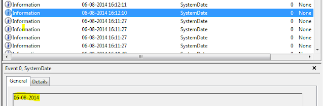 Date in event viewer