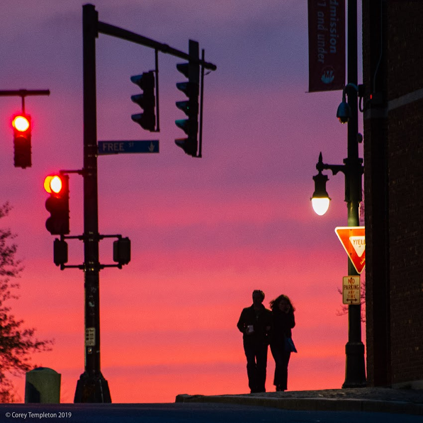 Portland, Maine USA May 2019 photo by Corey Templeton. Walking through a recent sunset at Congress & High.