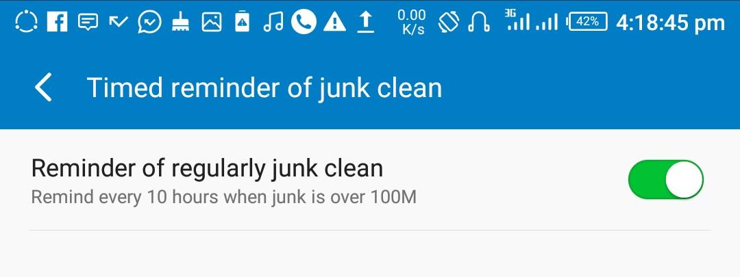 Infinix XOS XManager Junk File Reminder Setup