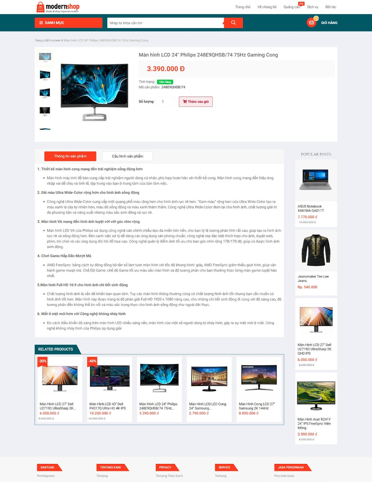Template blogspot bán hàng miễn phí ModernShop - Giaodienblog.com