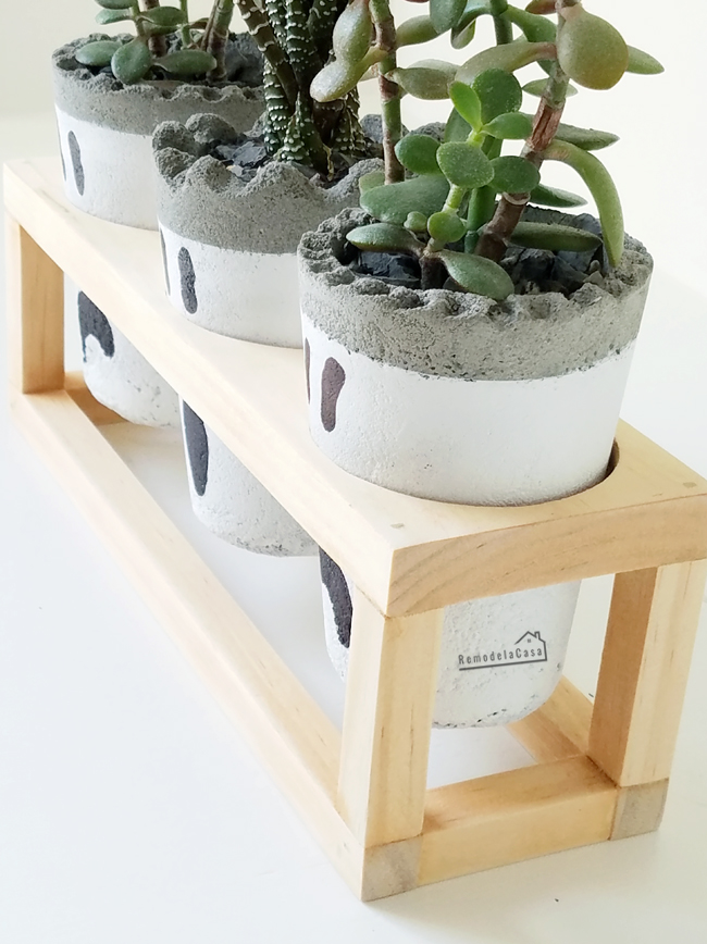 Succulent ghost planters on stand