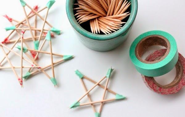 crear estrellas de navidad con palillos