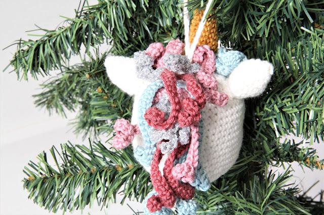 Crochet, eenhoorn, Gratis haakpatronen, gratis patroon, haken, kerst, kerstbal, Studio Mojo, unicorn, XX Kerst XX,