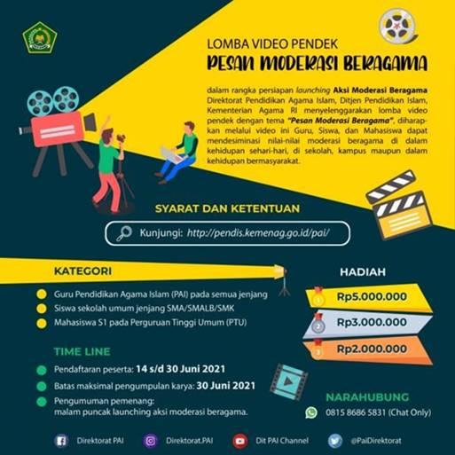 Lomba Video Pendek Moderasi Beragama Direktorat PAI 2021