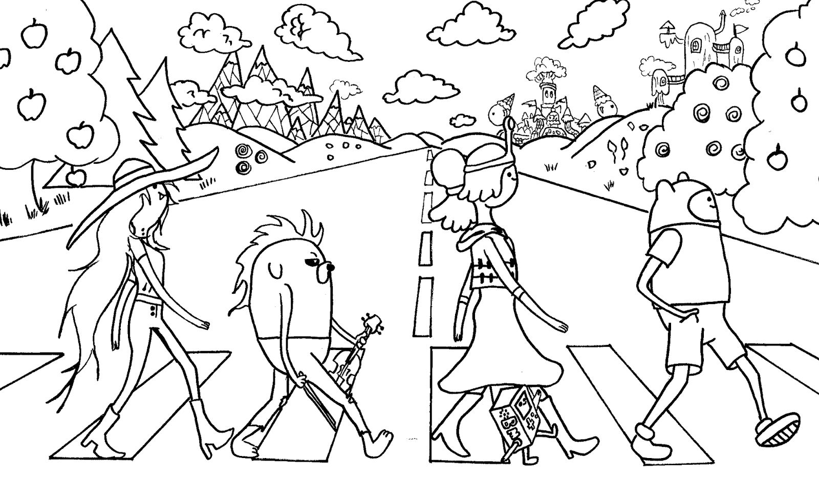 All Adventure Time Cast - Free Coloring Pages