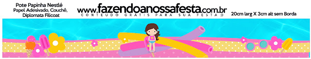 Etiquetas de Fiesta en la Piscina para Niña Morena para imprimir gratis.