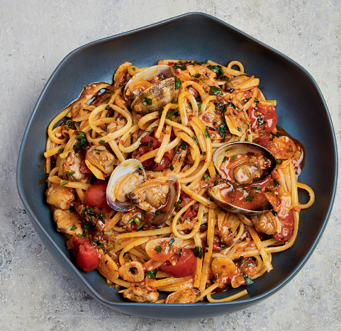 Linguine Vongole with Nduja and Cherry Tomatoes