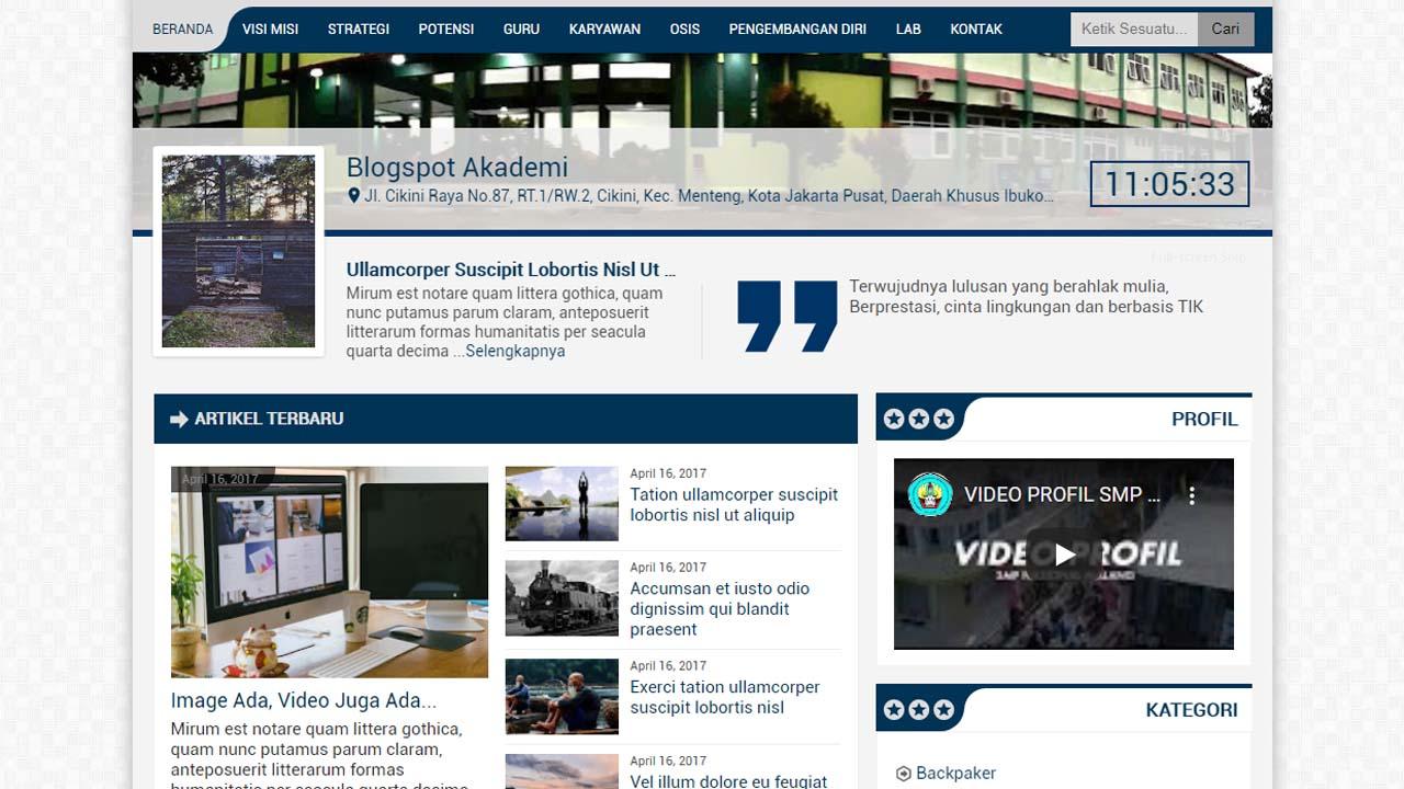 Blogspot Akademi, Template Blogger Yang Keren Abis Buat Website Sekolah