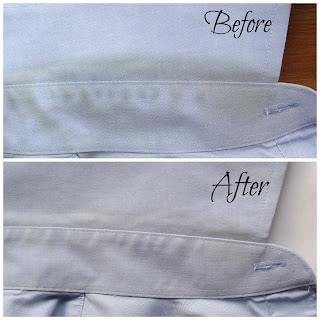 green laundry using hydrogen peroxide to whiten and remove yellow collar stains