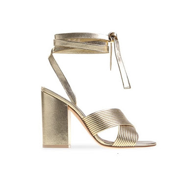 Gianvito Rossi Spring Summer 2016 Shoes Alia Gold Crisscross metallic block heel sandals