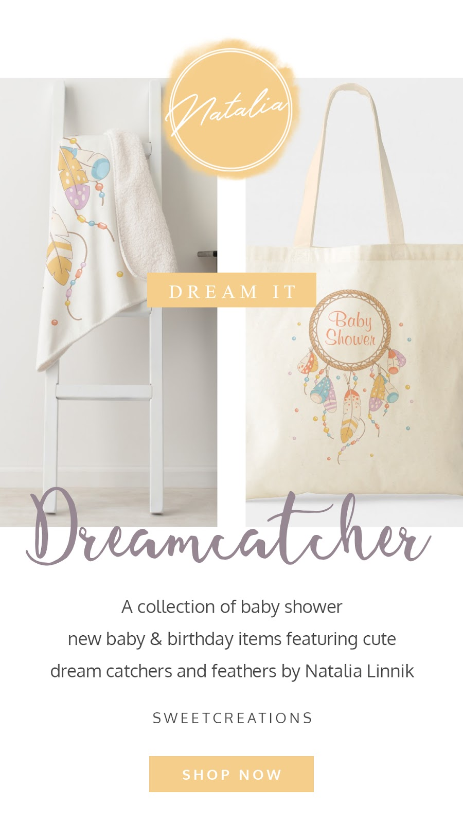 Boho chic dreamcatcher baby shower and birthday collection. Featuring custom tote bags, personalized baby blankets, gifts, and party favors. In a yellow, purple, orange, and blue color palette.