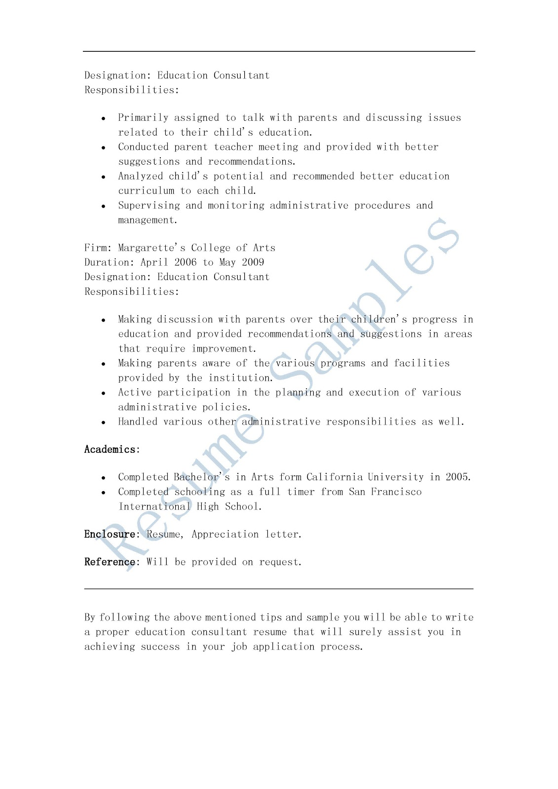 resume samples  education consultant resume
