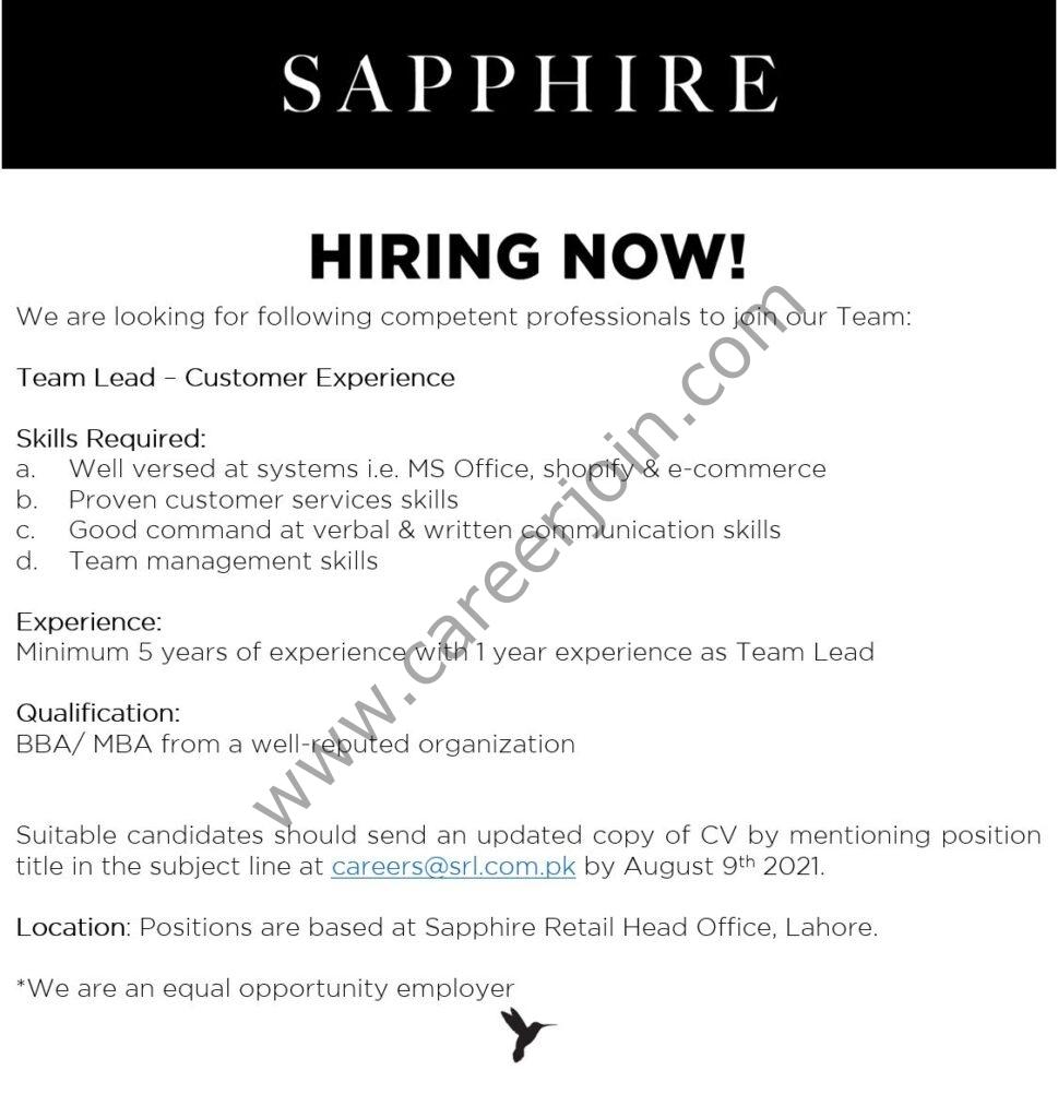 Sapphire Retail Limited SRL Jobs 2021 Team Lead