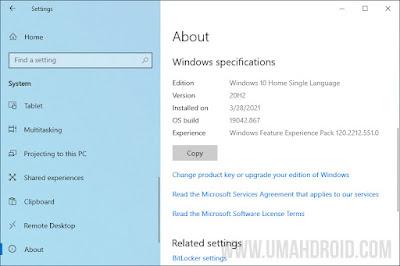 Mengecek Informasi Versi Windows 10