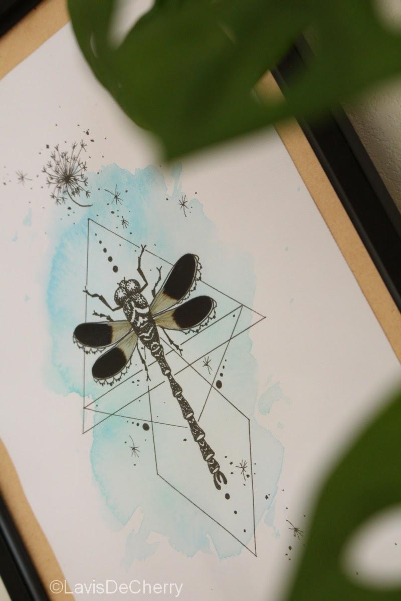 cadre-déco-dessin-aquarelle-ailes-libellule