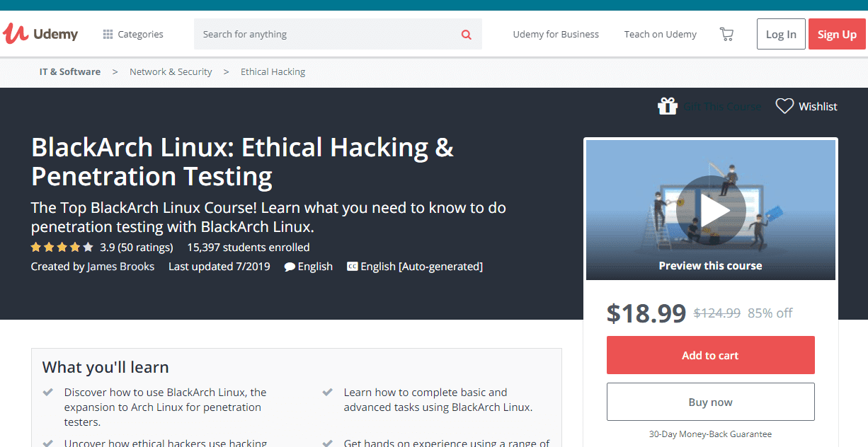 Professional course to learn ethical hacking using BlackArch Linux