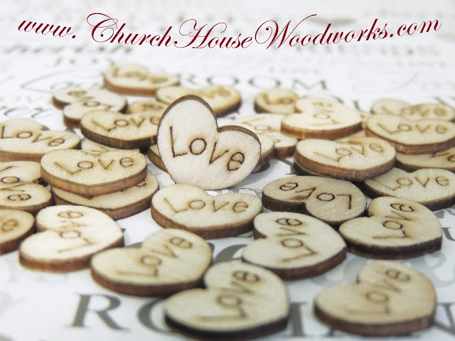 Rustic wood heart love confetti for rustic weddings.