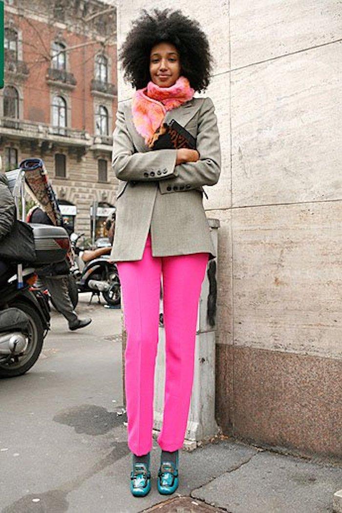 Julia Sarr-Jamois Style, Julia Sarr-Jamois Street Style, Julia Sarr-Jamois Pink