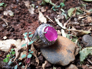 Batu Permata Pink Sapphire SF013 Kristal Ikatan Perak memo DGL