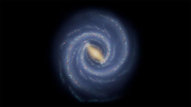 Ilustração artística da estrutura da Via Láctea de acordo com o que conhecemos estando dentro da galáxia