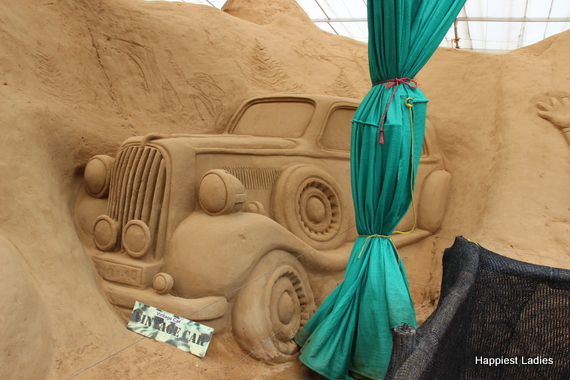Vintage Car Sand Sculpture