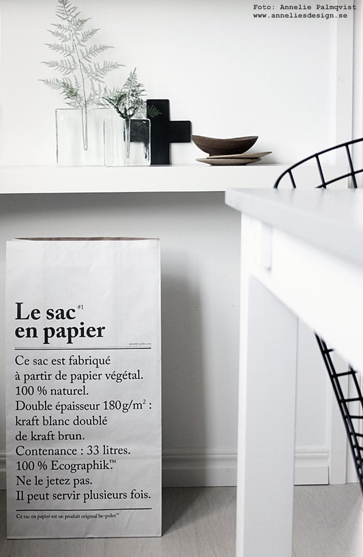 le sac en papier, förvaring, förvaringspåse, förvaringspåsar, påse, påsar, papperspåse, papperspåaar, kors, vas, annelies design, webbutik, webbutiker, webshop, inredning, svart och vitt, svartvit, svartvita,