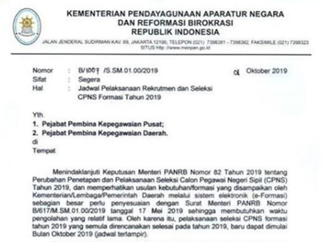 Catat, Ini Jadwal Pendaftaran Rekrutmen CPNS 2019