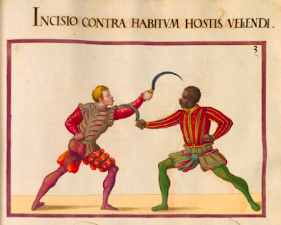 Sixteenth-century fencing manuscript illustration