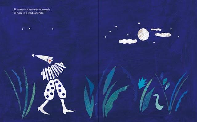 página interior del cuento ilustrado El Canto Errante poema de Rubén Darío ilustrado por Eleonora Arroyo