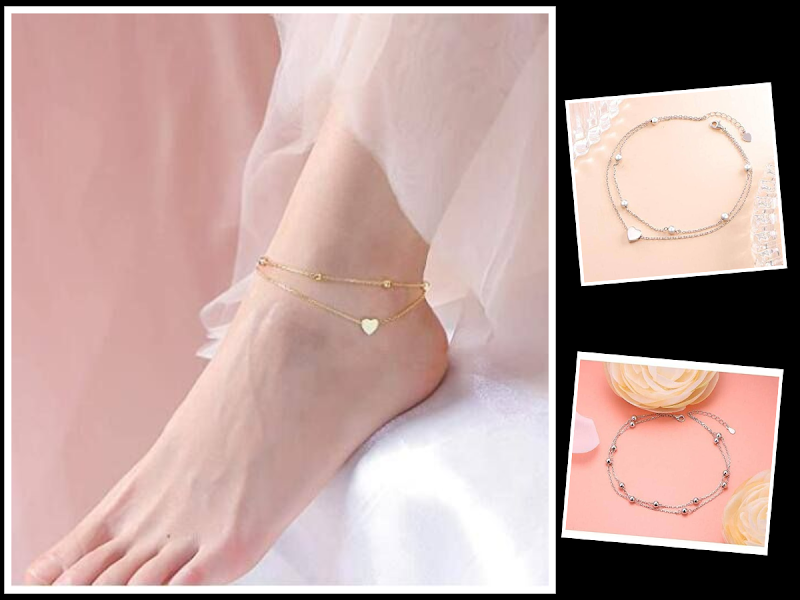 60% OFF S925 Sterling Silver  Beaded Heart Anklets