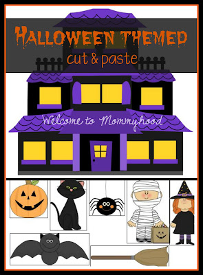 Halloween themed cut and paste printable by Welcome to Mommyhood #freeprintables, #halloweenactivities, #montessori, #preschoolactivities, #preschool, #kidsactivities, #homeschool