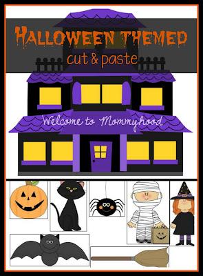Halloween themed cut and paste printable by Welcome to Mommyhood #freeprintables, #halloweenactivities, #montessori, #preschoolactivities, #preschool, #kidsactivities, #homeschool