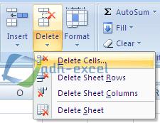 fungsi menu delete dalam excel