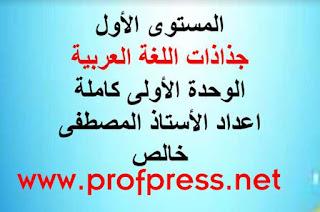 جذاذات اللغة العربية للوحدة الأولى كاملة كتابي في اللغة العربية  المستوى الأول بصيغة معدلة