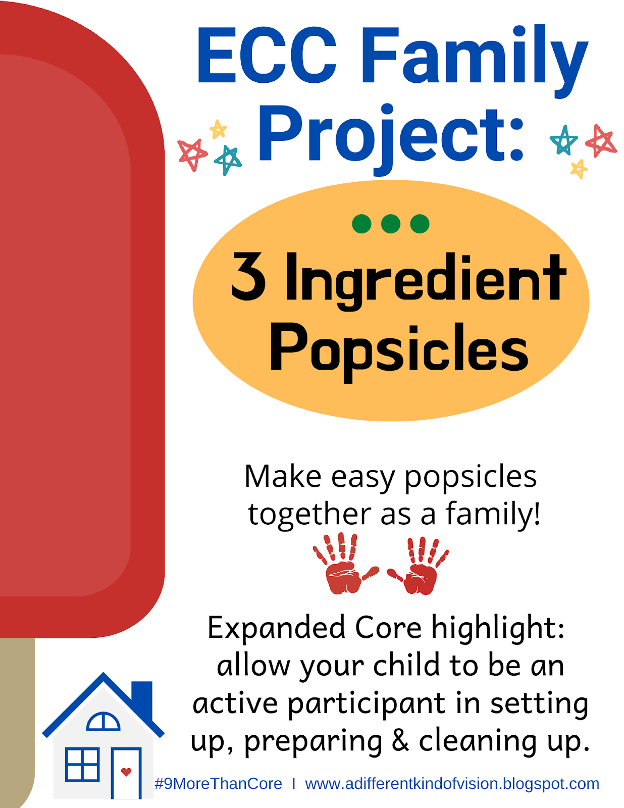 Image that says ECC Family Project: Make 3 ingredient popsicles