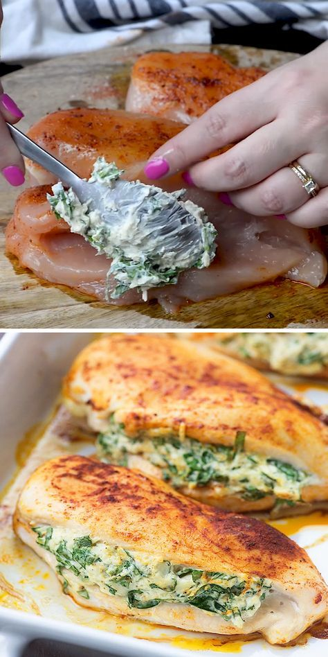 These spinach stuffed chicken breasts are loaded with cream cheese, fresh spinach, and Parmesan cheese.