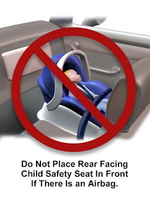 Stiker Larangan meletakkan Baby Car Seat di Kursi Depan Mobil