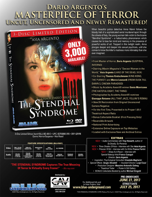 film arcade net blue underground announces limited edition blu  blue underground announces limited edition blu ray of dario argento s the stendhal syndrome