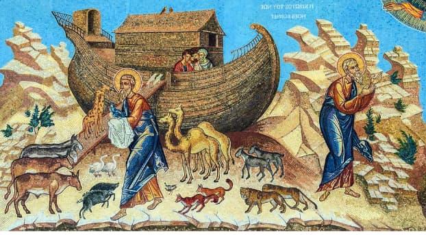 A imagem é uma ilustração da arca de noé, nela vemos a arca ao fundo, Noé na frene e alguns animais quadrúpedes.