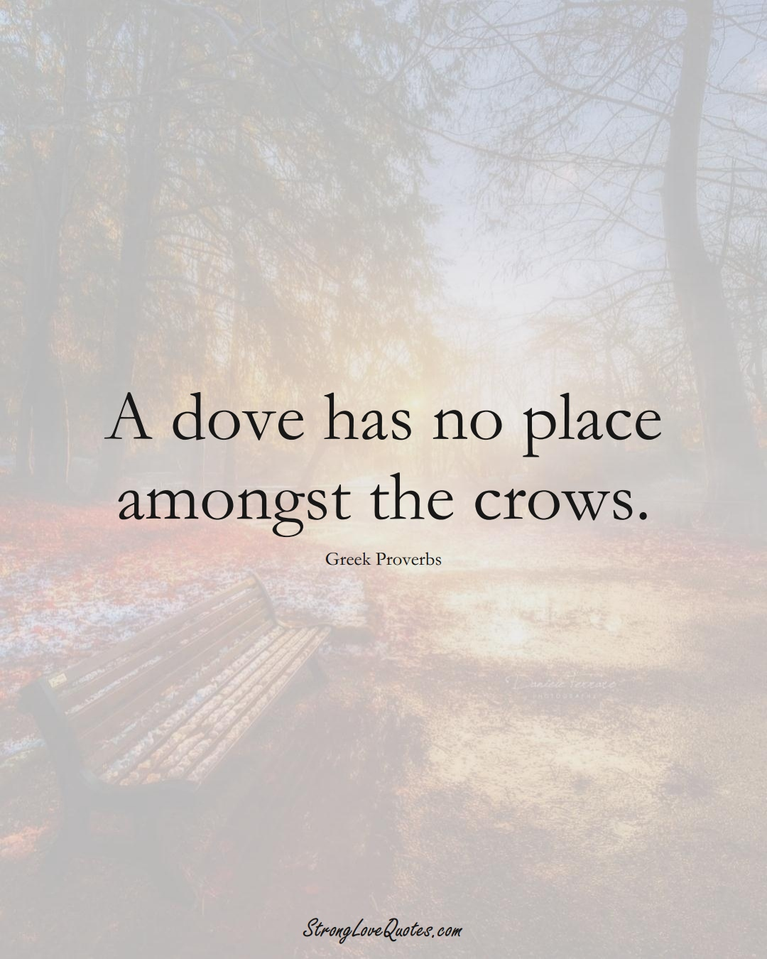 A dove has no place amongst the crows. (Greek Sayings);  #EuropeanSayings