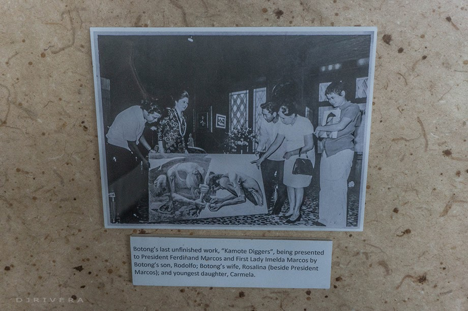 """Botong's last unfinished work, """"Kamote Diggers"""", presented to the President Marcos"""