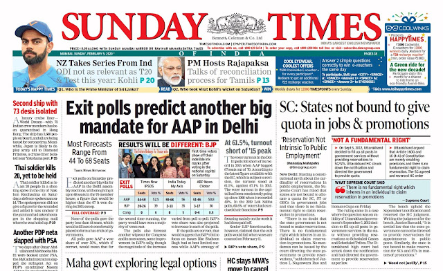 Sunday Times Of India Epaper 9th February 2020