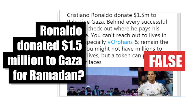 Christiano Ronaldo donacija FAKE NEWS