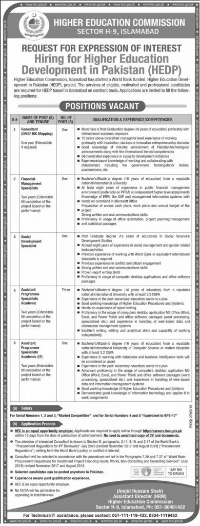 HEC New Jobs 2019 Latest Advertisement by hec.gov.pk