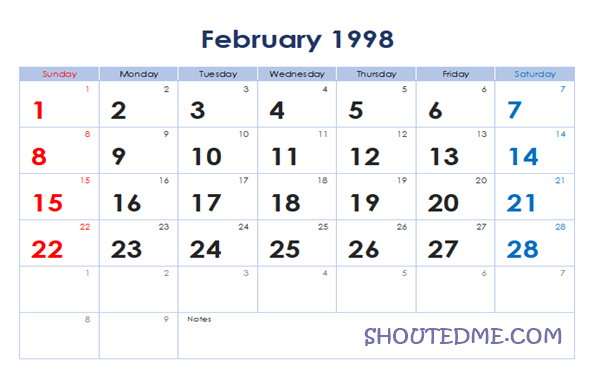 Kalender 1998 Masehi Bulan Februari